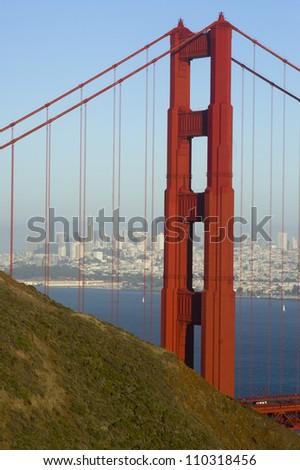 San Francisco City Skyline as seen through the Golden Gate Bridge Bay Shipping Port