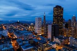 San Francisco cityscape and bay at night