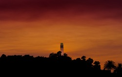 San Francisco Coit Tower during sunset