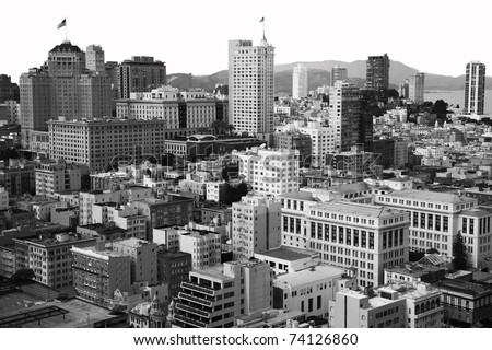 San Francisco downtown, a view from above, showing the apartment and office buildings in the center of this beautiful american city, in black and white