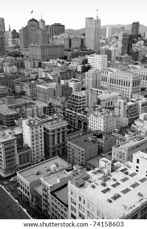 San Francisco downtown, a view from above, showing the apartment and office buildings in the center of this beautiful american city