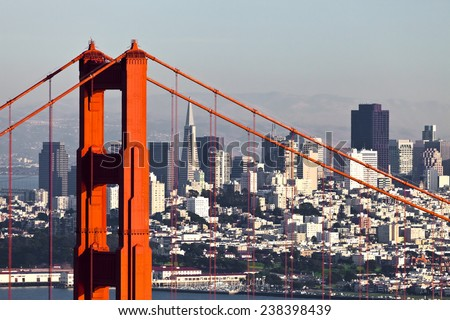 San Francisco Downtown and Golden Gate Bridge #238398439
