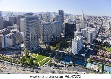 San Francisco Downtown, California, aerial view