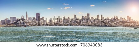 San francisco downtown cityscape panorama view from bay #706940083