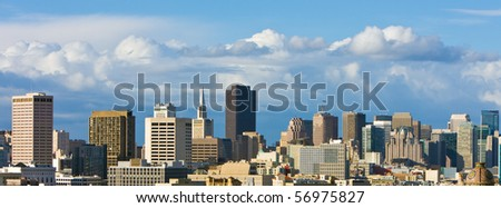 San Francisco Downtown Skyline with Beautiful Clouds.