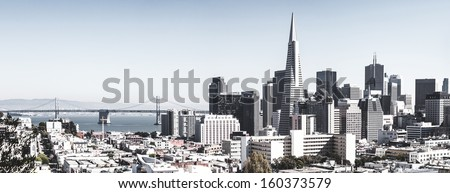 San Francisco downtown skyline with bridge