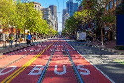 San Francisco downtown with culture and citylife at Powell street and Market street in North California USA. San Francisco United States Landmark Travel Destination cityscape concept.