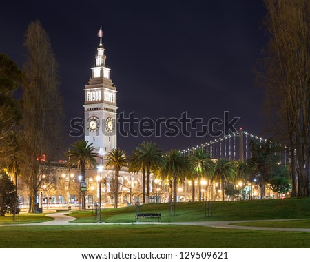 San Francisco Ferry Building at night.