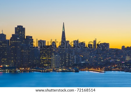 San Francisco financial district at sunset, United States of America