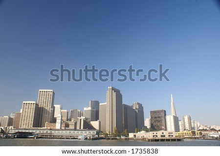 San Francisco financial district city skyline and clear blue sky