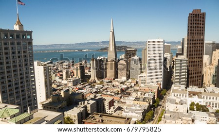 San Francisco financial district. Panoramic view of San Francisco financial district. Color photo, horizontal, copy space in sky. #679795825