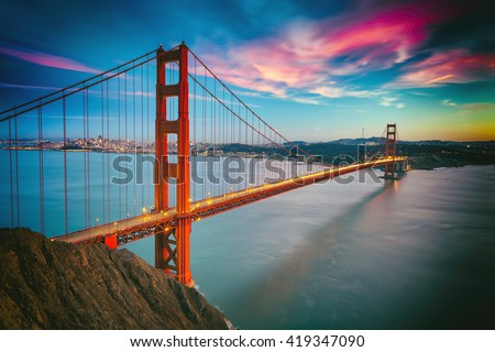 San Francisco from San Francisco Headlands and Golden Gate bridge #419347090