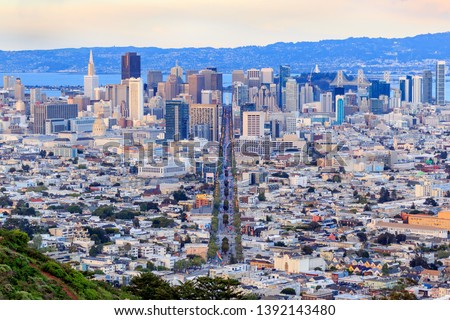 San Francisco from Twin Peaks - Ferry Building - Financial District and Market Street