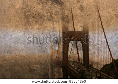 San Francisco Golden Gate Bridge Grunge