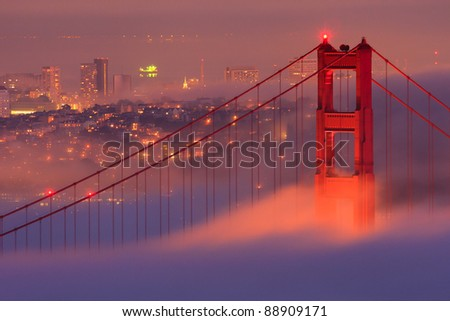 San Francisco Golden Gate Bridge in fog