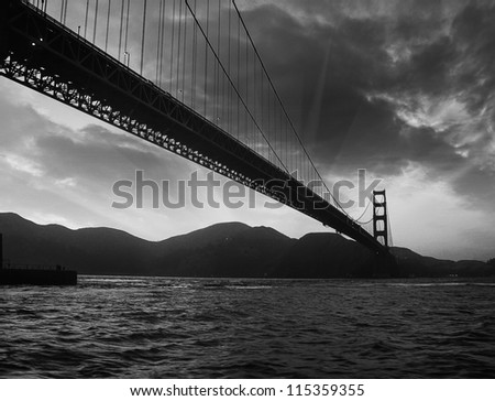 San Francisco Golden Gate Bridge Silhouette at Sunset, U.S.A.