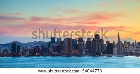 San Francisco HDR Panorama at Dusk. - stock photo