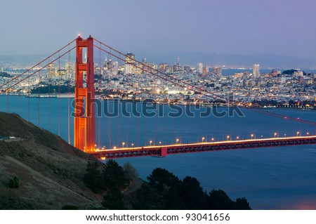 San Francisco. Image of Golden Gate Bridge with San Francisco skyline in the background. #93041656