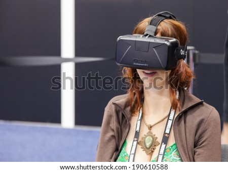 SAN FRANCISCO - MARCH 20: Oculus VR unveiling the second version of The Rift, its Virtual Reality headset for PC just before being bought by Facebook at GDC 2014 on March 20, 2014 in San Francisco, CA