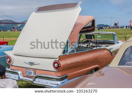 SAN FRANCISCO - MAY 27: A 1957 Ford Fairlane Skyliner Retractable is on display during the Golden Gate Bridge 75th Anniversary in San Francisco on May 27, 2012