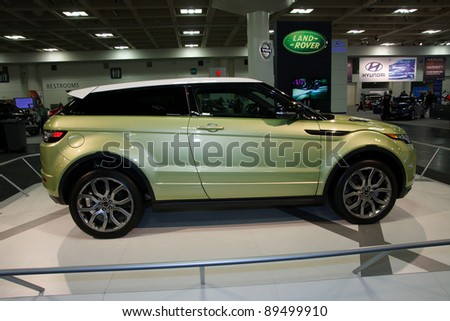 SAN FRANCISCO - NOVEMBER 21: A Range Rover Evoque is on display during the 2011 International Auto Show at the Moscone Center in San Francisco on November 21, 2011