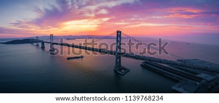 San Francisco-Oakland Bay Bridge at Sunrise, California, USA