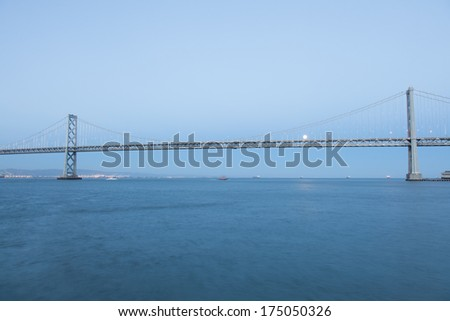 San Francisco-Oakland Bay Bridge is part of Interstate 80 and the direct road route between San Francisco and Oakland. #175050326