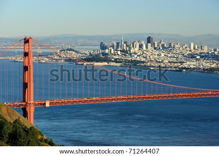 San Francisco over the Golden Gate Bridge in San Francisco, California
