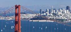 San Francisco Panorama from San Francisco Bay and Golden Gate Bridge