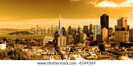 San Francisco panorama, processed for a sunset look.