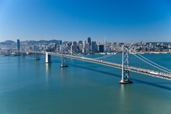 San Francisco Panorama with Bay bridge aerial view