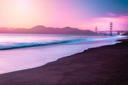 San Francisco's Famous Golden Gate Bridge at Dusk from Baker Beach