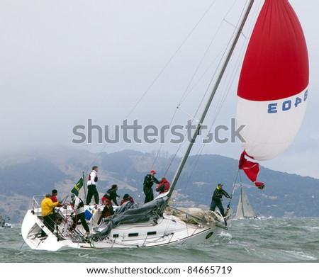 SAN FRANCISCO - SEPT 10: RolexBig Boat Series, Race 5, Sept 10, 2011 in San Francisco. Summer and Smoke, a Beneteau 36.7 in trouble with their spinnaker.