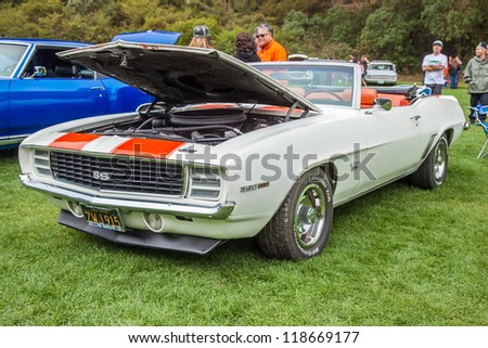SAN FRANCISCO - SEPTEMBER 29: A 1969 Chevrolet Camaro SS 350 Convertible is on display during the 2012 Jimmy's Old Car Picnic in Golden Gate Park in San Francisco on September 29, 2012
