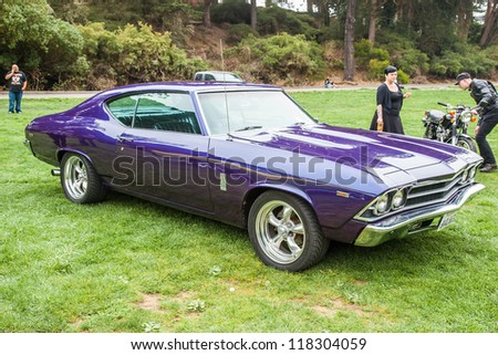 SAN FRANCISCO - SEPTEMBER 29: A 1969 Chevrolet Chevelle 300 Deluxe is on display during the 2012 Jimmy's Old Car Picnic in Golden Gate Park in San Francisco on September 29, 2012