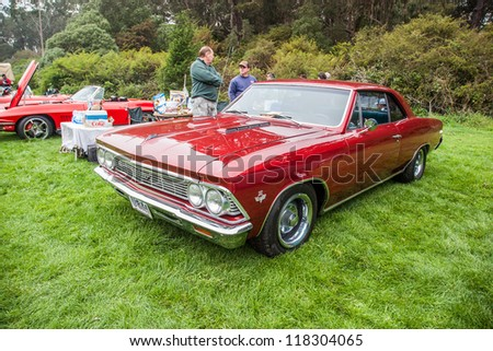 SAN FRANCISCO - SEPTEMBER 29: A 1966 Chevrolet Chevelle  is on display during the 2012 Jimmy's Old Car Picnic in Golden Gate Park in San Francisco on September 29, 2012