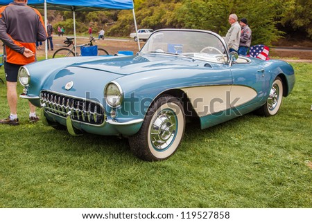 SAN FRANCISCO - SEPTEMBER 29: A 1957 Chevrolet Corvette is on display during the 2012 Jimmy's Old Car Picnic in Golden Gate Park in San Francisco on September 29, 2012