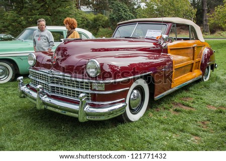SAN FRANCISCO - SEPTEMBER 29: A 1946 Chrysler Town & Country Convertible is on display during the 2012 Jimmy's Old Car Picnic in Golden Gate Park in San Francisco on September 29, 2012