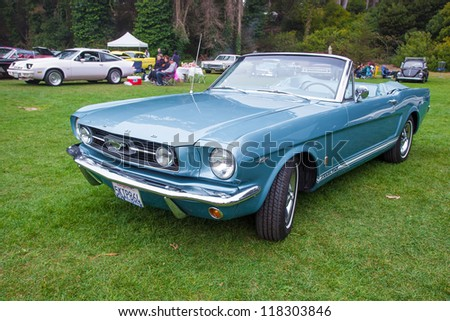 SAN FRANCISCO - SEPTEMBER 29: A 1965 Ford Mustang 289 Convertible is on display during the 2012 Jimmy's Old Car Picnic in Golden Gate Park in San Francisco on September 29, 2012