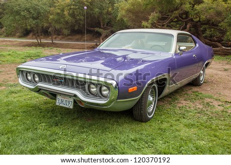 SAN FRANCISCO - SEPTEMBER 29: A 1972 Plymouth Satellite  is on display during the 2012 Jimmy's Old Car Picnic in Golden Gate Park in San Francisco on September 29, 2012