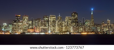 San Francisco skyline at night, with holiday season lights.