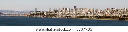 San Francisco Skyline Full city Panorama taken from the Golden Gate Bridge