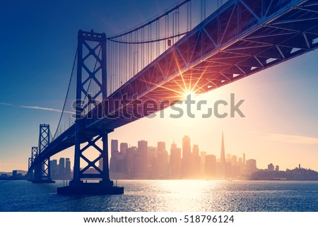 San Francisco skyline retro view. America spirit - California theme. USA background. #518796124