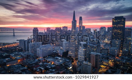 San Francisco Skyline with Dramatic Clouds at Sunrise, California, USA