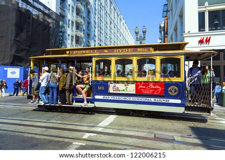 SAN FRANCISCO, USA - JULY 25: The Cable car tram, July 25,2008 in San Francisco, USA. The San Francisco cable car system is world last permanently manually operated cable car system.
