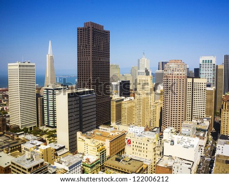 SAN FRANCISCO, USA - JULY 7: view from the rooftop on July, 07,2008, San Francisco, USA.  The city is the site of over 410 high-rises,44 of which stand taller than 400 feet.