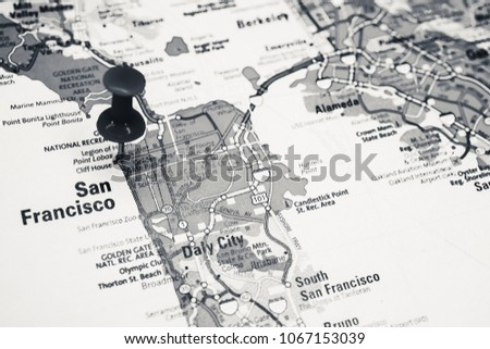 Free photos San Francisco pinned on a map of USA | Avopix.com