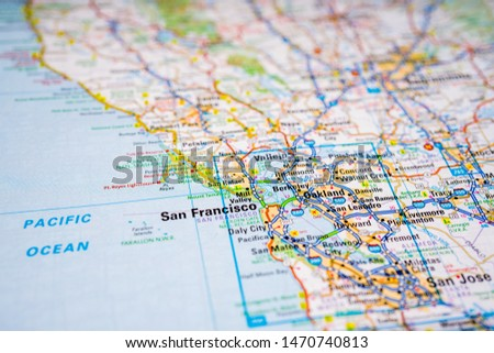 Map with pin point of San Francisco in California USA Images ...