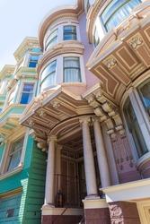 San Francisco Victorian houses near Alamo Square in California USA