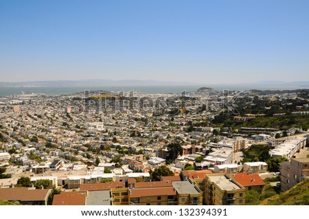 San Francisco View from Twin Peaks hill, US